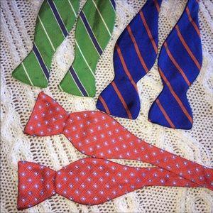 THREE SILK Bow Ties - EUC - Handmade in USA
